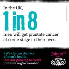 In the UK, 1 in 8 men will get prostate cancer at some stage in their lives. Let's change the face of men's health. Join In with Movember.