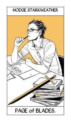 Hodge Starkweather's Tarot card from the suit of Seraph Blades by Cassandra Jean. Young Hodge (looking rather endearing) as the Page (a card that can turn up meaning spying or betrayal.)