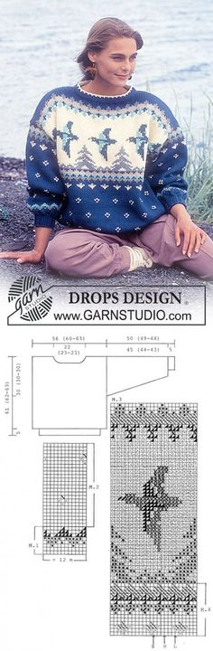 "DROPS jumper with duck pattern in ""Alaska"". ~ DROPS Design | вязание(жаккард,вышивка) | Постила"