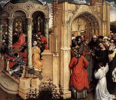 ROBERT CAMPIN.  Sposalizio della Vergine. Dipinto a olio su tavola, oggi conservato nel Museo del Padro, Madrid. Datato 1410-1415, di dimensioni  77x88 cm.