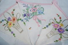 vintage floral embroidered linen bunting