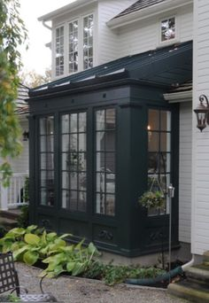 More ideas below: DIY Bay Windows Exterior Ideas Nook Bay Windows Seat and Plant… - Sunroom Windows Outdoor Rooms, Outdoor Living, Architecture Renovation, Sunroom Addition, Exterior Design, Exterior Siding, Bay Window Exterior, Black Exterior, Exterior Paint