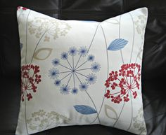 Throw pillows dandelion clock seeds allium crimson red navy blue charcoal gray powder blue cushion shams UK designer fabric One 18 inch. $25.00, via Etsy.