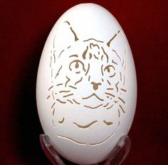 Hand Carved Goose Egg - Kitty Cat Portrait