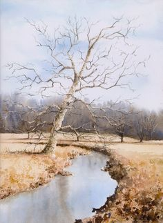 """Jill Poyerd Watercolors - Watercolor Landscapes """"around the bend"""" nearly perfect and reminds me of home!"""