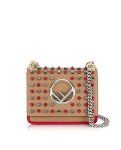 fe19978a15 Fendi - Kan I F Small Sand and Red Leather Crossbody Bag w Studs