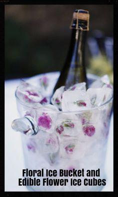 Floral Ice Bucket and Edible Flower Ice Cubes - Summer Wedding Ideas 2016 #weddings #summerwedding #icebuckets #edibledecorations