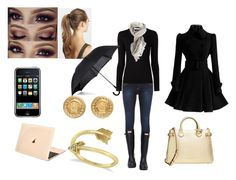 """""""Rainy school day"""" by cdanielson99 ❤ liked on Polyvore featuring Dorothy Perkins, Hunter, Burberry, Majestic Filatures, Versace, Allurez, France Luxe and Fulton"""