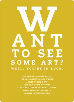 Art Gallery Opening Invitations Inspired by an Eye Chart