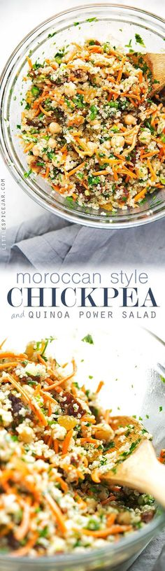 Moroccan Chickpea Quinoa Power Salad - A quick salad loaded with sooo much flavor and it's perfect as a side or a main meal!