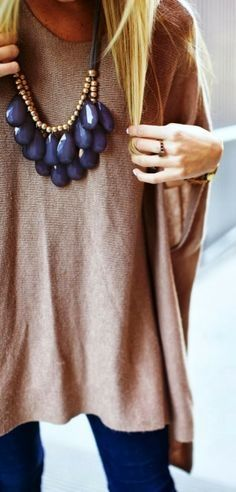 Dark denim dusty rose and a chunky navy blue statement necklace is very cute. Maybe a little less chunk?