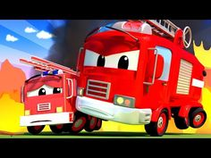 (9) Kids Car Cartoon - the FIRETRUCK and Baby are Putting out a FIRE at School! Cartoon for kids - YouTube