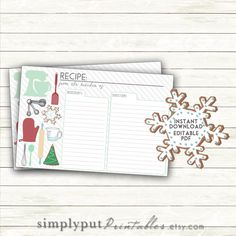 Christmas Recipe Card Printable