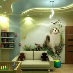 Absolutely amazing wall painting or wall paper. Cat