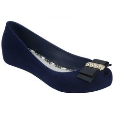Jason Wu + Melissa Shoes JW Ultragirl Bow Navy Flock (205 BRL) ❤ liked on Polyvore featuring shoes, flats, melissa shoes, bow flats, peep toe shoes, peep-toe shoes and peeptoe shoes