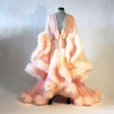 Pinterest: @MagicAndCats ☾ Peach Cassandra Dressing Gown - boudoir by dlish
