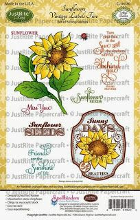 JustRite Papercraft October Release-Sunflowers Vintage Labels Five Cling Stamps and Custom Spellbinders Vintage Labels Five