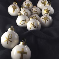 Chrismon Ornaments Set of 12 Christian Crismon Tree FREE SHIPPING by FabulousFancyPants on Etsy https://www.etsy.com/listing/255574684/chrismon-ornaments-set-of-12-christian
