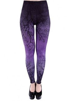 Restyle Purple Branches Ombre Leggings | Attitude Clothing