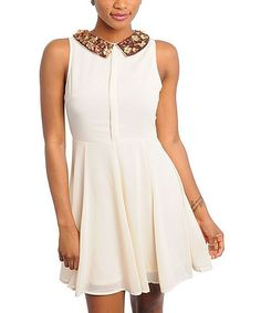 Take a look at this Cream Chiffon Sleeveless Dress by Buy in America on #zulily today!
