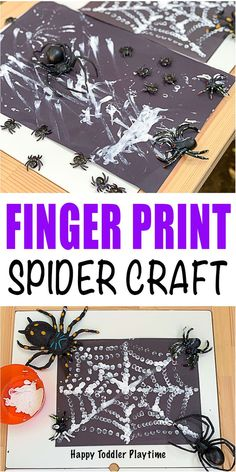 Finger Print Spider Web Craft - HAPPY TODDLER PLAYTIME Let your little one create a spider web using their fingers in this fun and easy Halloween finger painting craft for kids. Manualidades Halloween, Halloween Crafts For Toddlers, Autumn Activities For Kids, Halloween Activities, Toddler Crafts, Craft Activities, Halloween Themes, Halloween Fun, Painting Activities