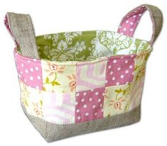 Small Patchwork Basket #sewing #basket #handles #patchwork #small