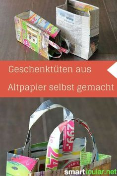 Geschenktüten aus Altpapier basteln – Nutzlose Prospekte mit neuer Bestimmung Newspapers and advertising leaflets in the waste paper? You can do many useful things with it. Here detailed instructions for homemade gift bags! Recycled Crafts, Diy And Crafts, Crafts For Kids, Paper Crafts, Rock Crafts, Homemade Gift Bags, How To Make A Gift Bag, Origami Diy, Waste Paper