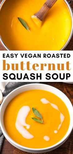 This creamy Vegan Butternut Squash Soup is the perfect comforting meal for Fall or Winter. It's fully dairy-free and can be topped with crunchy pumpkin seeds. Spicy Butternut Squash Soup, Roasted Squash, Dairy Free Soup, Squash Vegetable, Vegan Roast, Food Articles, Vegan Soups, Vegan Kitchen, Soup Recipes
