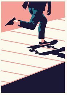 Summertime Travel - Skate- Screenprint — Telegramme Paper Co. Flat Illustration, Graphic Design Illustration, Digital Illustration, Graphic Art, Style Skate, Arte Peculiar, Skate Art, Skateboard Art, Papers Co