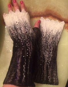 Nunofelted fingerless gloves wrist Warmers black by Tatiana123