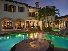 #ScottiePippen's Florida Mansion: Night Pool View>> http://www.frontdoor.com/photos/tour-scottie-pippens-florida-mansion?soc=pinterest