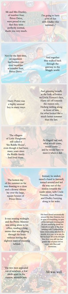 First and Last lines of each Harry Potter book
