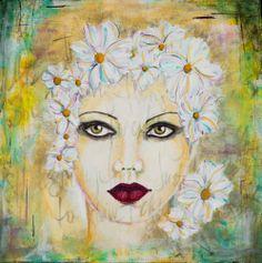 """Flower Girl"", 12"" x 12"" on canvas, mixed media by Kelly Thiel - flowers, female, portrait"