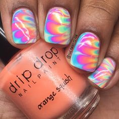 Watermarble with drip drop nail paint pastelly jellies collection Drip Nails, My Nails, Drip Drop, Diaries, Jelly, Swatch, Fox, Nail Polish, Pastel