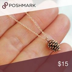 Dainty Pine Cone necklace Actual necklace in photo #2, gold tone, new, UNBRANDED-LISTED FOR EXPOSURE. Anthropologie Jewelry Necklaces