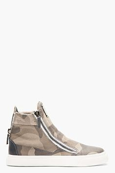 Giuseppe Zanotti Grey Leather Camo High-top Sneakers