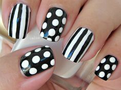 Dots ans Stripes nail art.  This would be cool with some different colors.