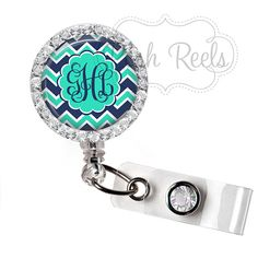Retractable Badge Holder Personalized Mint Green and by PoshReels