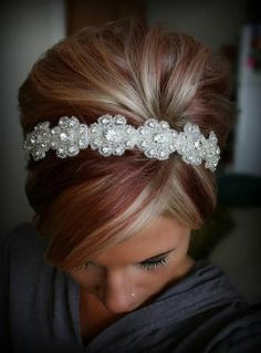 hair with color, cute headband Thinking about getting it done soon!(: for fall of course