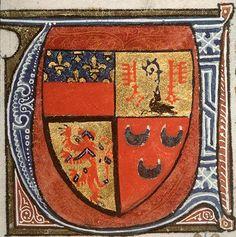 """Initiale """"U"""" avec armes d'Etienne de Conty, †1413 (f°310v) -- «Distinctiones in Decretales Gregorii IX», par Henricus Bohic, vers 1374, Paris (France) [BM d'Amiens, Ms. 0365] -- écartelé : au 1 de gueules au chef d'azur semé de fleurs de lis d'or (Amiens); au 2 d'or au corbeau de sable portant une crosse d'azur flanquée de deux clefs de gueules adossées (Corbie); au 3 d'or au lion de chevronné de gueules et de vair (Conty-Amiens); au 4 de gueules à trois croissants d'hermine."""