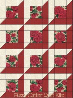 Rose Garden Red Roses Floral Fabric Fast Easy Pre-Cut Quilt Blocks Top Kit Quilting Squares Pieces