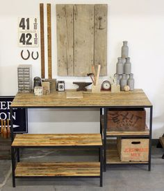 Reclaimed Barn Siding & Steel Desk With Matching Bench