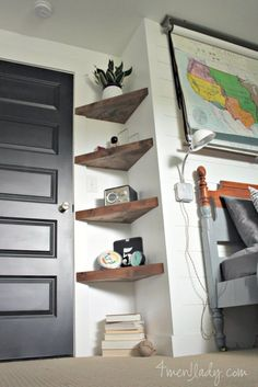 13 ideas for simple living room shelves DIY projects, ., 13 ideas for simple living room shelves DIY projects, Floating Corner Shelves, Corner Shelving, Glass Shelves, Floating Wall, Wood Shelves, Corner Storage, Hanging Shelves, Shelves For Plants, Hallway Shelving