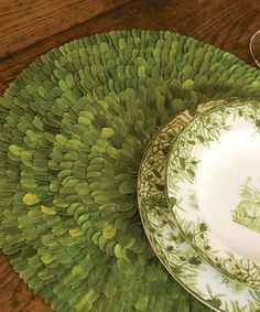 Another great find on #zulily! Round Boxwood Place Mat #zulilyfinds  Love the dinnerware too.