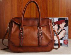 Women's Brown Real Leather Purse Genuine Leather Handbag Shoulder Bag Hobo Tote Purse Cowhide Bag  B154
