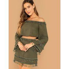 9a63472aba3 Bell Sleeve Tassel Trim Crop Bardot Top & Skirt Set