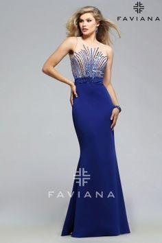 S7749 Royal/Nude Bead Detailing Faviana Glamour