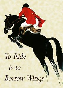 Horse-Jumping-Borrow-Wings-20x30-Vintage-Poster-Repro-FREE-SHIPPING