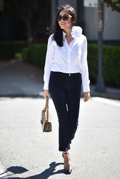 spring outfit, summer outfit, fall outfit, black and white outfit, work outfit, office outfit, office wear - white shirt, black crop pants, black ankle strap heels, brown sunglasses, nude shoulder bag