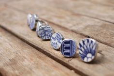 Chinese dynasty blue ceramic rings